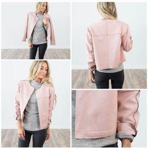 Blush pink sueded stretch neoprene jacket